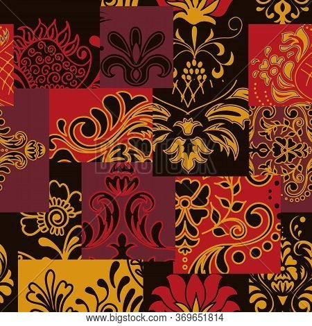 Bandanna Patchwork Fabric. Flap Fabric With Damask Ornaments.