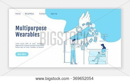 Multipurpose Wearable Landing Page Flat Silhouette Vector Template. Smart Watch Homepage Layout. Nfc