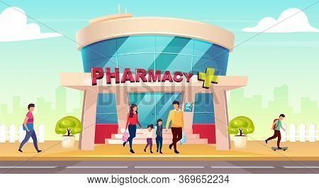 Pharmacy Storefront Flat Color Vector Illustration. Drugstore Entrance Near Road. Medication Shop Ex
