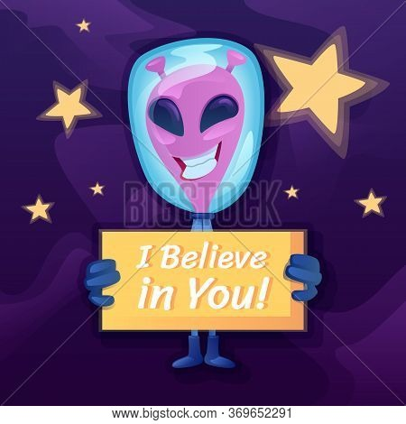 I Believe In You Social Media Post Mockup. Inspirational Phrase. Web Banner Design Template. Martian