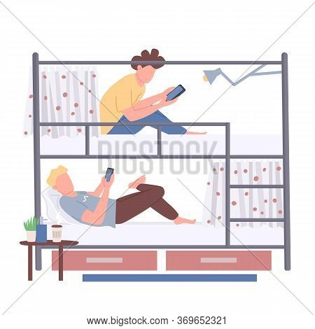 Roommates, Friends Flat Color Vector Faceless Characters. College Students Sharing Bunk Bed Isolated