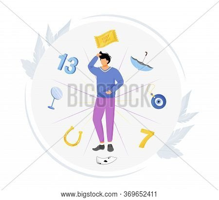 Common Superstitions Flat Concept Vector Illustration. Superstitious Man 2d Cartoon Character For We
