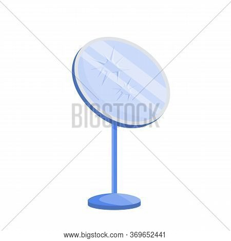 Broken Mirror Cartoon Vector Illustration. Damaged Looking Glass Flat Color Object. Common Superstit