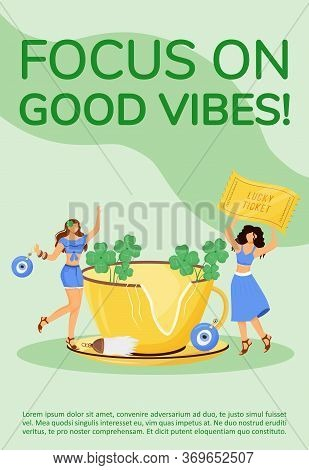 Focus On Good Vibes Poster Flat Vector Template. Superstitions And Common Beliefs Brochure, Booklet