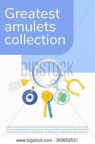 Greatest Amulets Collection Poster Flat Vector Template. Superstitions Brochure, Booklet One Page Co