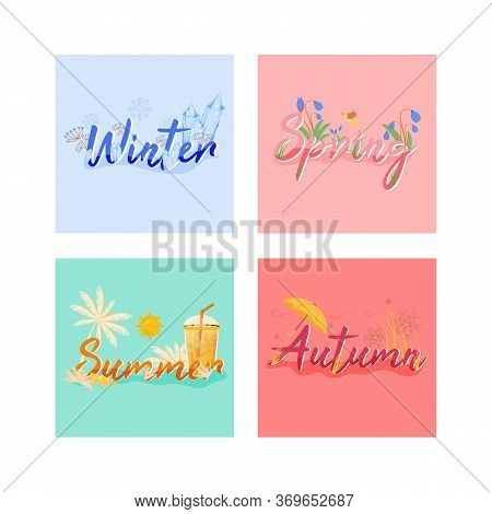 Four Seasons Banner Flat Vector Template. Hot And Cold Weather Horizontal Poster Word Concepts Desig