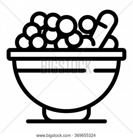 Bowl Cereal Flakes Icon. Outline Bowl Cereal Flakes Vector Icon For Web Design Isolated On White Bac