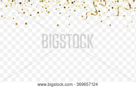 Yellow Glow Polka Frame. Random Dot Pattern. Gradient Glitter Effect Texture. Wedding Confetti Desig