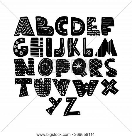 Alphabet Hand Drawn Letters Font In Folk Nordic Style. Bold Capital Letters Monochrome With Abstract