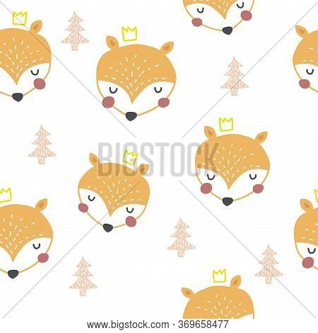 Seamless Woodland Pattern With Cute Orange Foxes And Hand Drawn Elements Nordic Style. Scandinavian