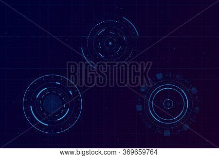Set Of Hud Circle Infographic Elements. Sci-fi Round Head-up Display For Futuristic User Interface H