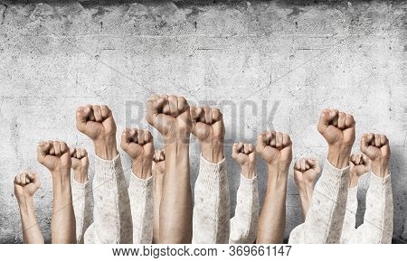 Row Of Man Hands Showing Clenched Fist Gesture. Victory Or Protest Group Of Signs. Human Hands Gestu