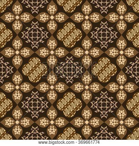Elegance Flower Motifs On Parang Batik Design With Mustard Color Design