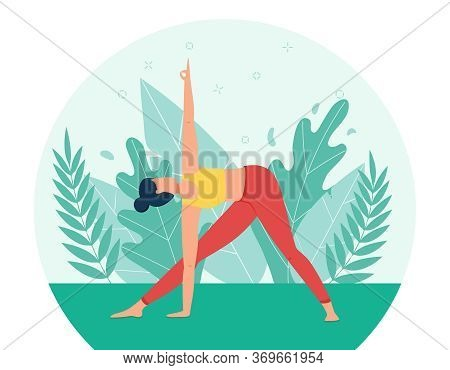 A Girl Practices Yoga In The Park. The Concept Of Outdoor Yoga.yoga Classes In Nature. Flat Style. T