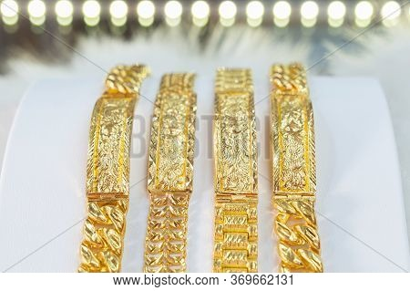Luxury Gold Bracelet, Golden Dragon Pixiu Or Pi Yao On White Background. Traditional Of China For We