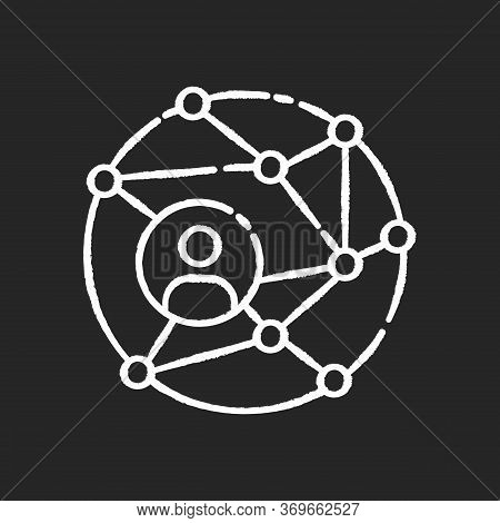 Networking Chalk White Icon On Black Background. Global Communication. Public Relation Strategy. Wor