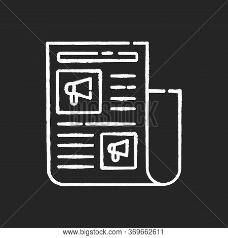 Advertorial Chalk White Icon On Black Background. Native Advertisement In Newspaper. News For Engage