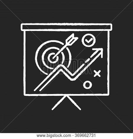 Marketing Strategy Chalk White Icon On Black Background. Corporate Project Presentation. Objective F