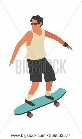 Man Rides Skateboard. Happy Young Boy Skateboarding Flat Vector Street Activities Concept