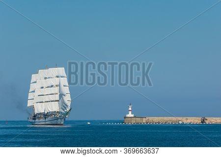 Beautiful Three Mast Tall Ship Sailing Pastfort Constantin Lighthouse At The Entrance To Sevastopol