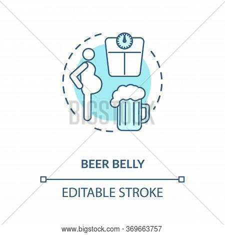 Beer Belly Concept Icon. Common Mens Health Issue, Unhealthy Lifestyle Idea Thin Line Illustration.