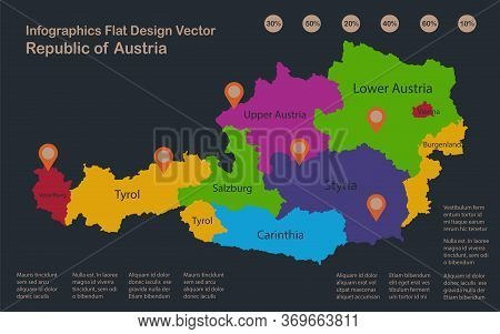 Infographics Austria Map, Flat Design Colors, Names Of Individual Administrative Division, Blue Back