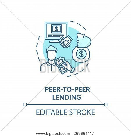 Peer To Peer Lending Turquoise Concept Icon. Campaign To Raise Money. Online Crowd Funding For Busin