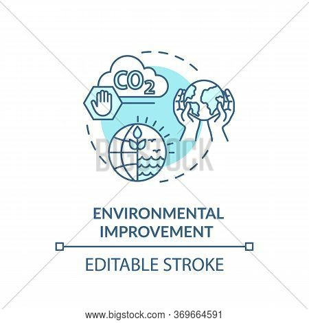 Environmental Improvement Turquoise Concept Icon. Reduce Industrial Waste. Sustainable Production Id
