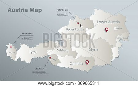Austria Map, Administrative Division With Names, Blue White Card Paper 3d Vector