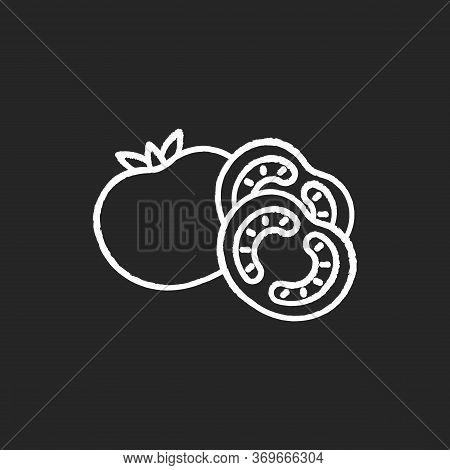 Tomato Chalk White Icon On Black Background. Ketchup Sauce Recipe. Fresh Vegetable And Nourishment.