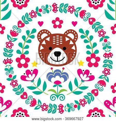 Scandinavian Seamless Vector Folk Art Pattern With Bear, Flowers And Wreath, Nordic Floral Textile D