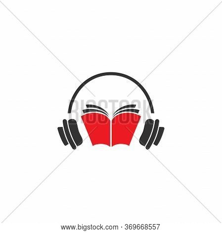 Audio Book Logo. Red Open Book With Headphones Or Headset On White Background.