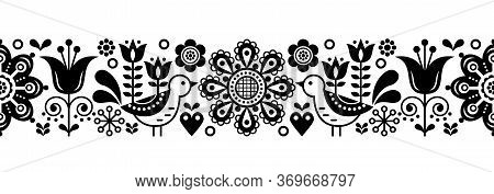 Scandinavian Seamless Vector Pattern With Flowers And Birds, Nordic Folk Art Repetitive Black And Wh