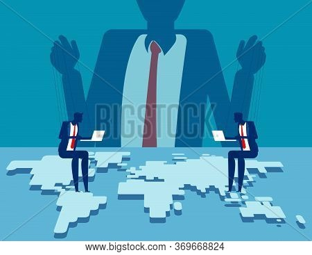 Corporate Manipulating People Behind The Scenes. Behind The Economy And Population Concept