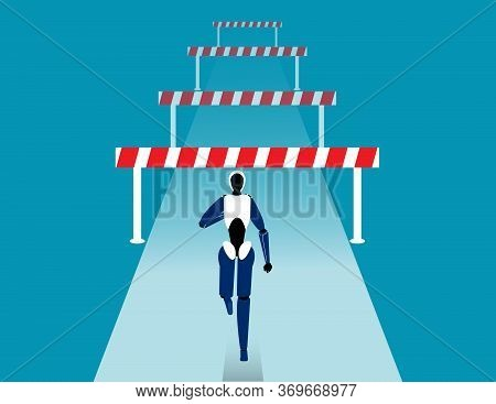 Robot Face Front Of Many Obstacles. Barriers On The Way To Success Concept. Flat Vector Cartoon Styl