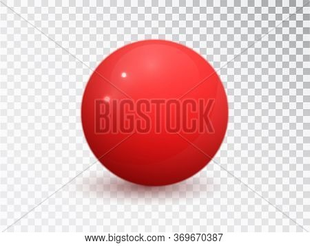 Red Ball Isolated On Transparent Background. Red Matte Vector Sphere. Round Shape, Geometric Simple,
