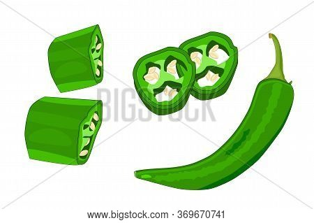 Jalapeno Isolated On White Background. Set Of Sliced Jalapeno Pepper, Half And Whole. Green Pepper C