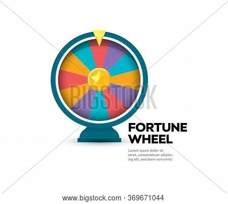 Fortune Wheel Banner. Gambling Website Poster. Raffle Prize Icon. Casino Slot Machine. Random Winner