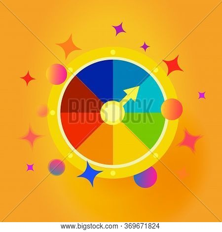 Fortune Wheel Emblem. Confetti Explosion Vector Icon. Gambling Entertainment, Money Stakes. Isolated