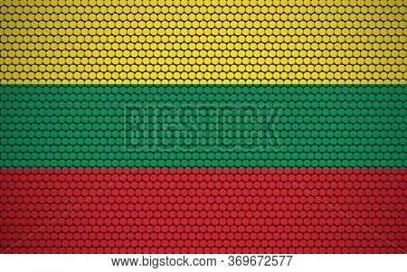 Abstract Flag Of Lithuania Made Of Circles. Lithuanian Flag Designed With Colored Dots Giving It A M