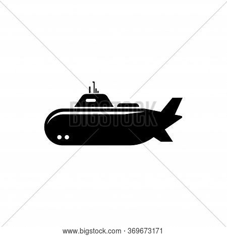 Nuclear Army Submarine, Deep Bathyscaphe. Flat Vector Icon Illustration. Simple Black Symbol On Whit