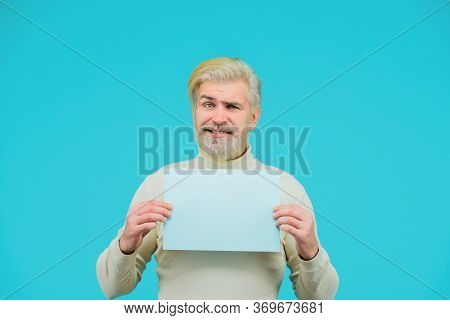 Space For Your Text. Sale. Discount. Advertising Banner. Man With Blank Board. Man Shows Empty Board