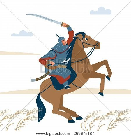 Portrait Of Dangerous, Nomad Mongol Man Riding Brown Horse In Steppe Holding Sword Attacking. Centra