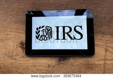May 2020 Milan, Italy: Irs Company Logo Icon On Tablet Screen Close-up. Irs Visual Brand
