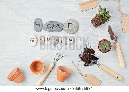Home Gardening Concept. Flat Lay With The Text My Garden On Stones And Gardening Tools. Top View Min