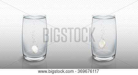 Effervescent Soluble Tablet In Water Glass Isolated On Transparent Background. Vector Realistic Mock