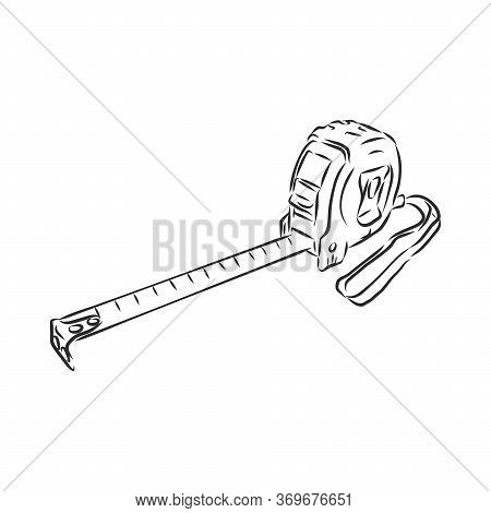 Tape Measure Icon Sketch Style. Construction Tape Measure, Vector Sketch Illustration