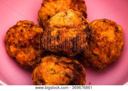 Details Of Fresh Fried Meatballs With Spices, Homemade Food. Close Up Of Meatballs Isolated