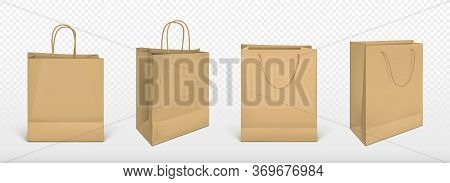 Paper Shopping Bags, Mockup, Square Blank Ecological Packages With Jute Rope Handles Pack Mock Up Fo