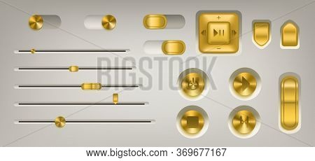 Music Control Panel With Golden Buttons, Knobs, Switch And Volume Slider. Vector Realistic Interface